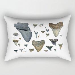Fossil shark teeth watercolor Rectangular Pillow