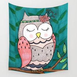 Spring Owl Wall Tapestry