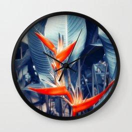 Tropical Parakeet Flower Wall Clock