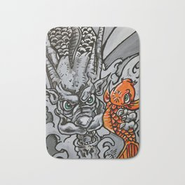 Dragon Catches Koi in the Waterfall of Life Bath Mat
