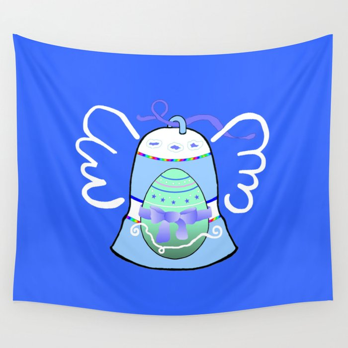 Blue Bell on Blue Wall Tapestry