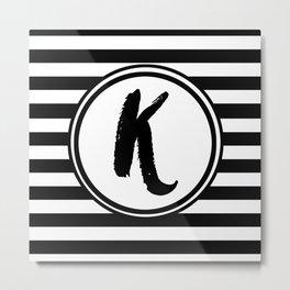 K Striped Monogram Letter Metal Print