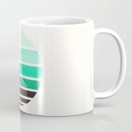 Teal Turquoise Mid Century Modern Minimalist Circle Round Photo Staggered Sunset Geometric Stripe De Coffee Mug