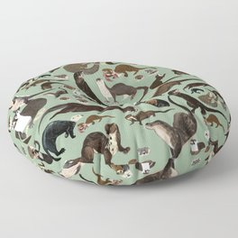 Otters of the World pattern Floor Pillow