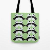 pandas Tote Bags featuring Pandas by Alexandra Baker