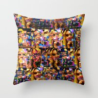 lindsay lohan Throw Pillows featuring Lindsay-Alice-Court-Glitch by Peter Marsh