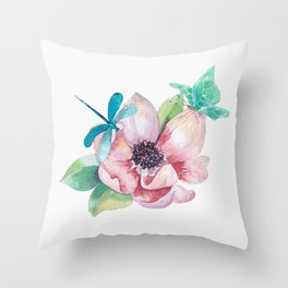 Butterfly and Dragonfly with Flowers Throw Pillow
