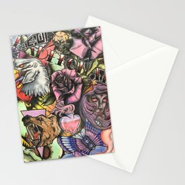Neo traditional tattoo collage Stationery Cards