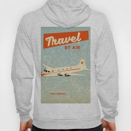 """1950s style """"by air"""" travel poster print. Hoody"""