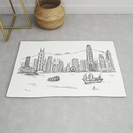 Hong Kong Harbour View Sketching Rug