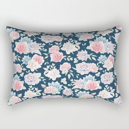 Navy blue blush pink lavender cactus floral pattern Rectangular Pillow