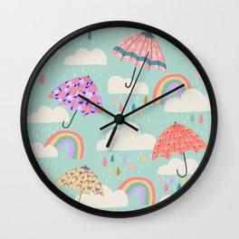 Happy Spring Showers - Aqua Wall Clock