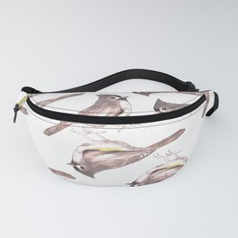 Tufted titmouse or Baeolophus bicolor watercolor birds painting Fanny Pack