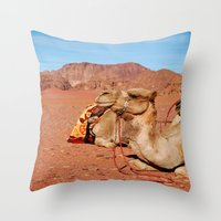 camel Throw Pillows featuring camel by lularound