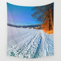 hiking Wall Tapestries featuring Hiking through a sunny winter scenery by Patrick Jobst