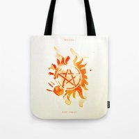 supernatural Tote Bags featuring Supernatural by Rose's Creation