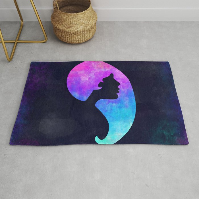 Girl In Space Chic Graphic Art Watercolor Canvas Painting Modern Minimal Cute Rug By Misomiso Society6