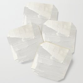 Relief [1]: an abstract, textured piece in white by Alyssa Hamilton Art Coaster