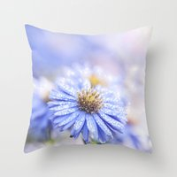 biology Throw Pillows featuring Blue Aster in LOVE  by UtArt