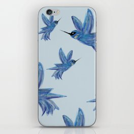 blue hummingbirds iPhone Skin