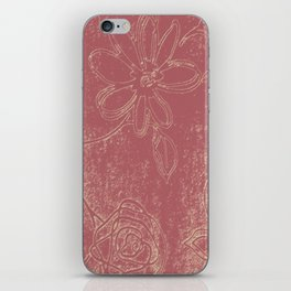 Light pink abstract design vintage velvet look with flowers iPhone Skin