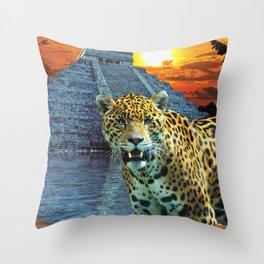 Temple Guardian - Mayan Leopard Throw Pillow