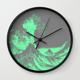 The Great Wave Green & Gray Wall Clock