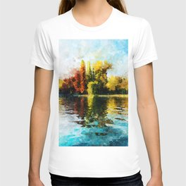 Gold And Fire Nature Reflection Watercolor, Nature Landscape In Autumn Painting, Large Print Photo T-shirt