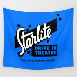 Starlite Drive-In Niagara Falls in Blue Wall Tapestry