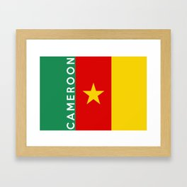Cameroon country flag name text Framed Art Print