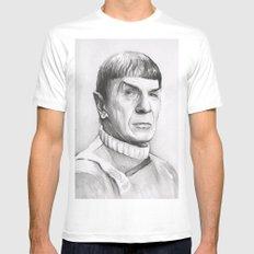 Spock Leonard Nimoy Portrait MEDIUM Mens Fitted Tee White