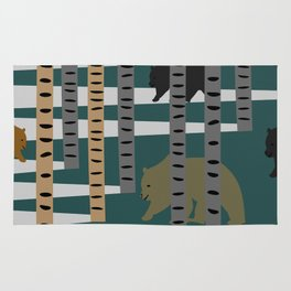 Bears walking in the forest Rug