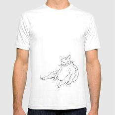 Fat Cat illustration MEDIUM White Mens Fitted Tee