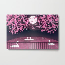 Swans and Cherry Blossoms Metal Print