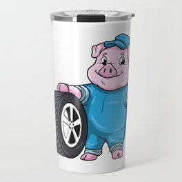 Pig as Car mechanic with Tires Travel Mug