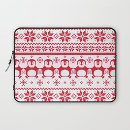 Red Scandinavian Penguin Holiday Design Laptop Sleeve