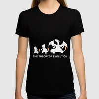 The Theory of Evolution  LARGE Womens Fitted Tee Black