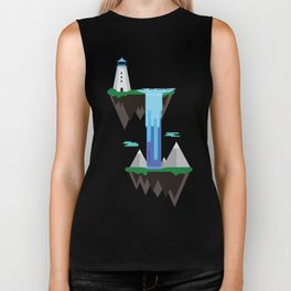 Floating islands with lighthouse Biker Tank