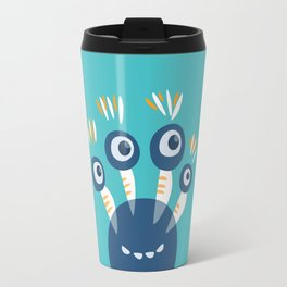 Cute Blue Four Eyed Monster Travel Mug