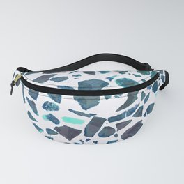 Turquoise Aqua Marble Stone Terrazzo Abstract Pattern Fanny Pack