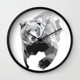 Geometric Bear on White Wall Clock