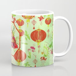 Watercolor Laughing Happy Buddha on Bagua Coffee Mug