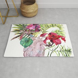 Human heart with flowers, plant and leaf, watercolor Rug