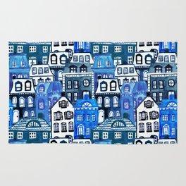 Mansard Village in Blue Watercolor Rug