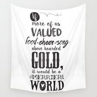 tolkien Wall Tapestries featuring Tolkien quote by Pau Ricart
