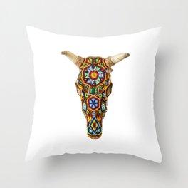 Huichol Bull Skull Throw Pillow