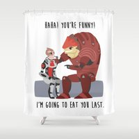 mass effect Shower Curtains featuring Mass Effect - Wrex and Mordin by Choco-Minto