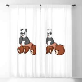 Naughty Panda Wear Grizzly Bear Costume Blackout Curtain