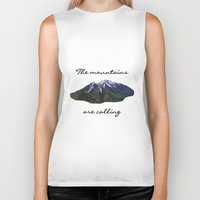 the mountains are calling Biker Tanks featuring The mountains are calling by Jess Paige B