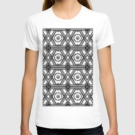 Geometric Black and White Tribal-Inspired Repeat Pattern T-shirt